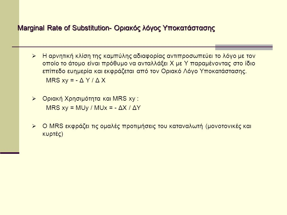 Marginal Rate of Substitution- Οριακός λόγος Υποκατάστασης