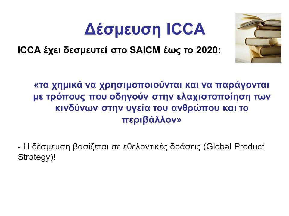 Δέσμευση ICCA ICCA έχει δεσμευτεί στο SAICM έως το 2020: