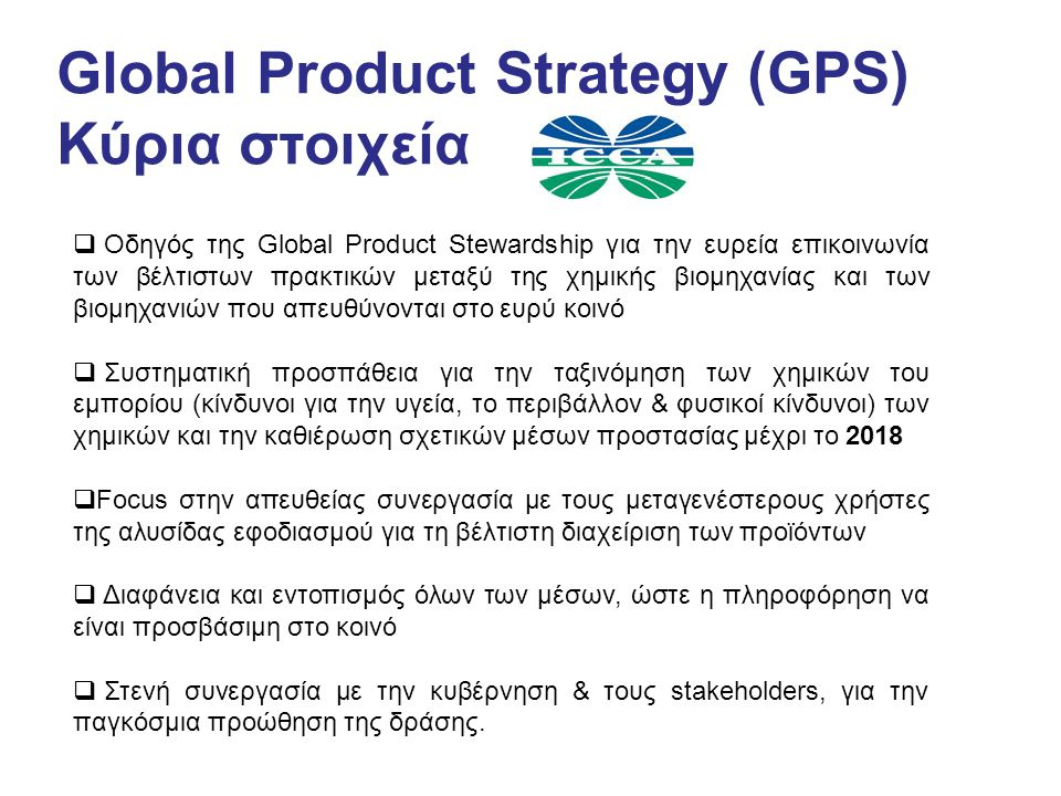 Global Product Strategy (GPS) Κύρια στοιχεία
