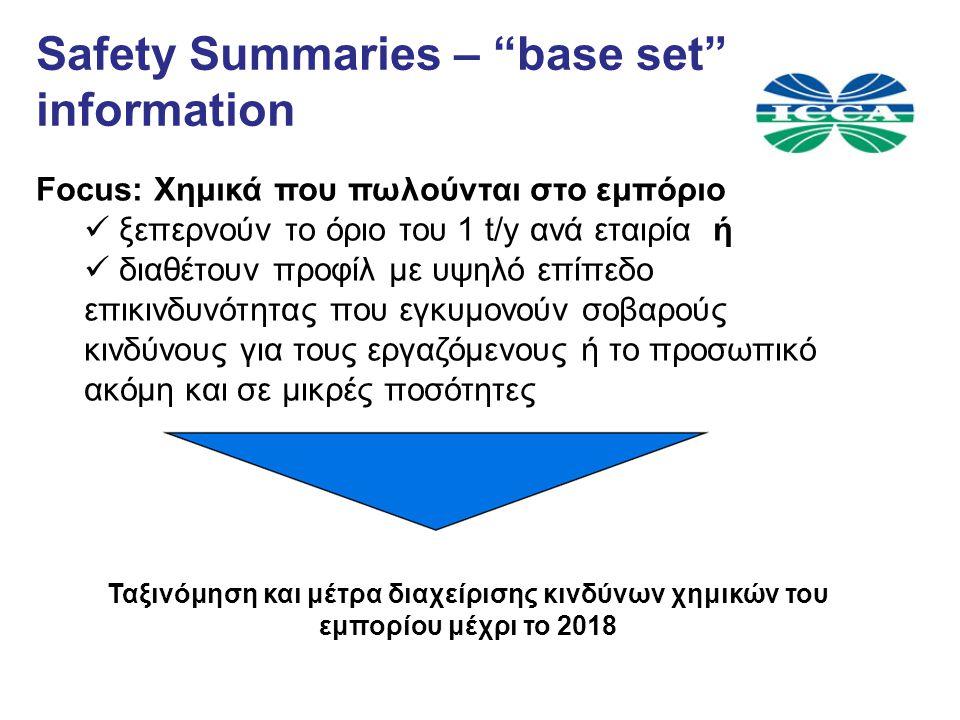 Safety Summaries – base set information