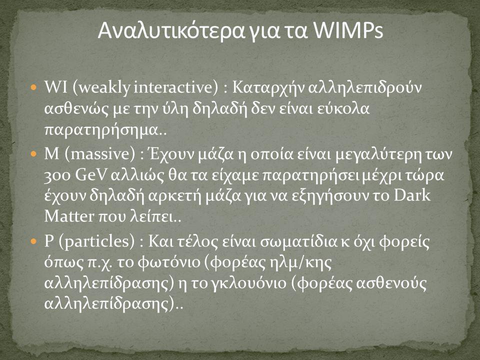Αναλυτικότερα για τα WIMPs
