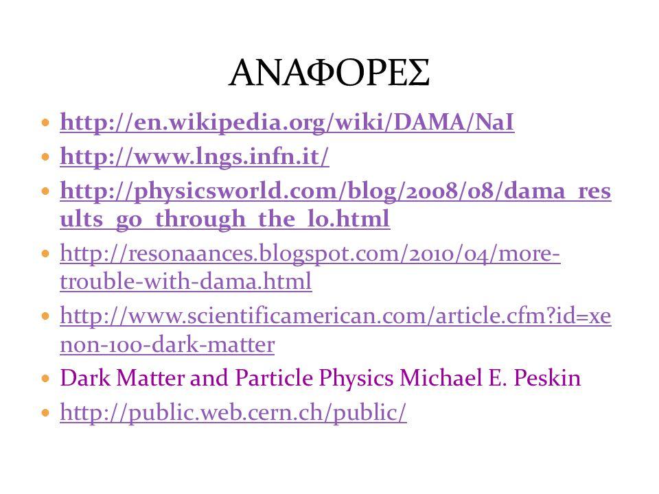 ΑΝΑΦΟΡΕΣ http://en.wikipedia.org/wiki/DAMA/NaI
