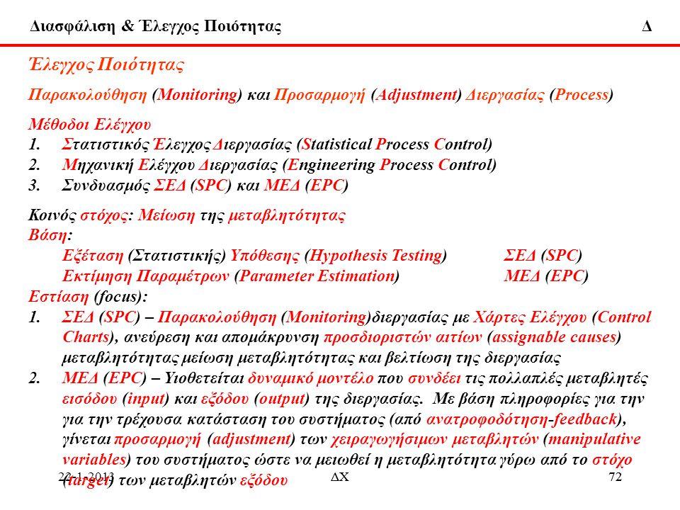 Έλεγχος Ποιότητας Παρακολούθηση (Monitoring) και Προσαρμογή (Adjustment) Διεργασίας (Process) Μέθοδοι Ελέγχου.