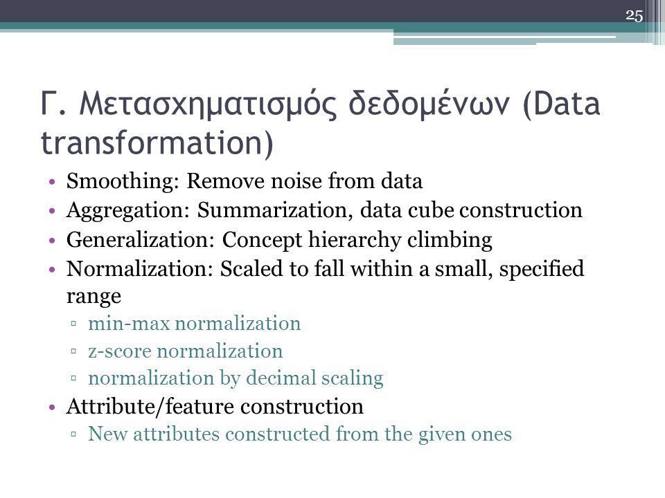 Γ. Μετασχηματισμός δεδομένων (Data transformation)