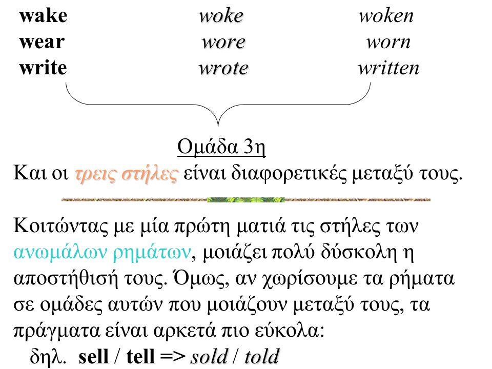 wake woke woken wear wore worn write wrote written Ομάδα 3η Και οι τρεις στήλες είναι διαφορετικές μεταξύ τους.