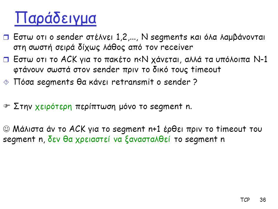 Παράδειγμα Εστω οτι ο sender στέλνει 1,2,..., Ν segments και όλα λαμβάνονται στη σωστή σειρά δίχως λάθος από τον receiver.