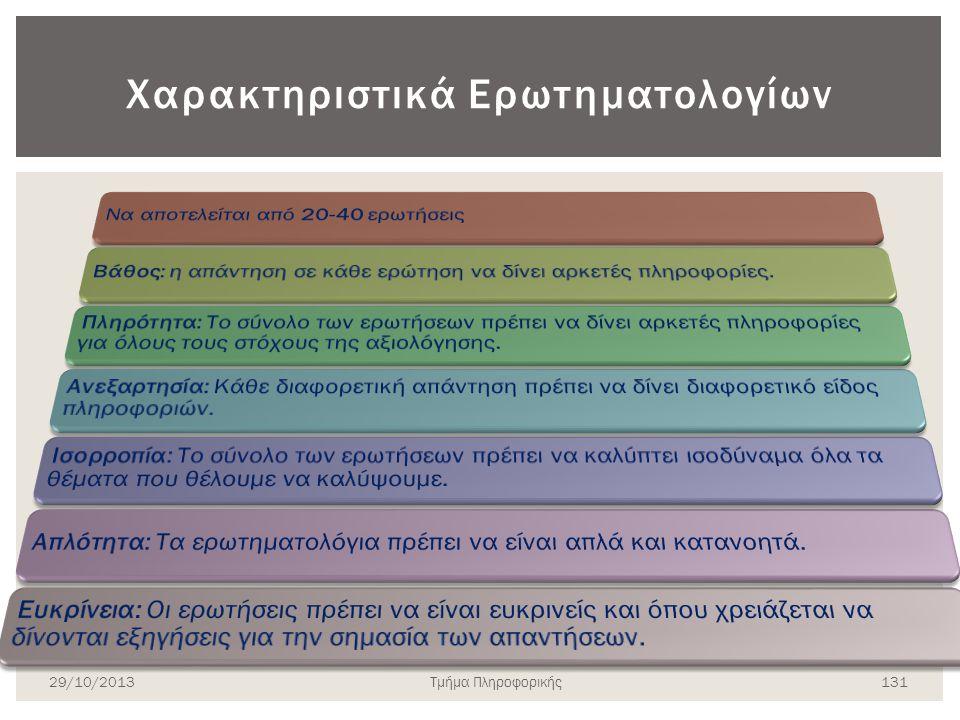 Χαρακτηριστικά Ερωτηματολογίων