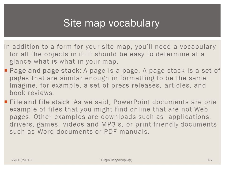 Site map vocabulary