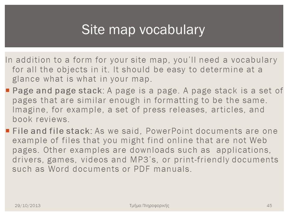 Site map vocabulary