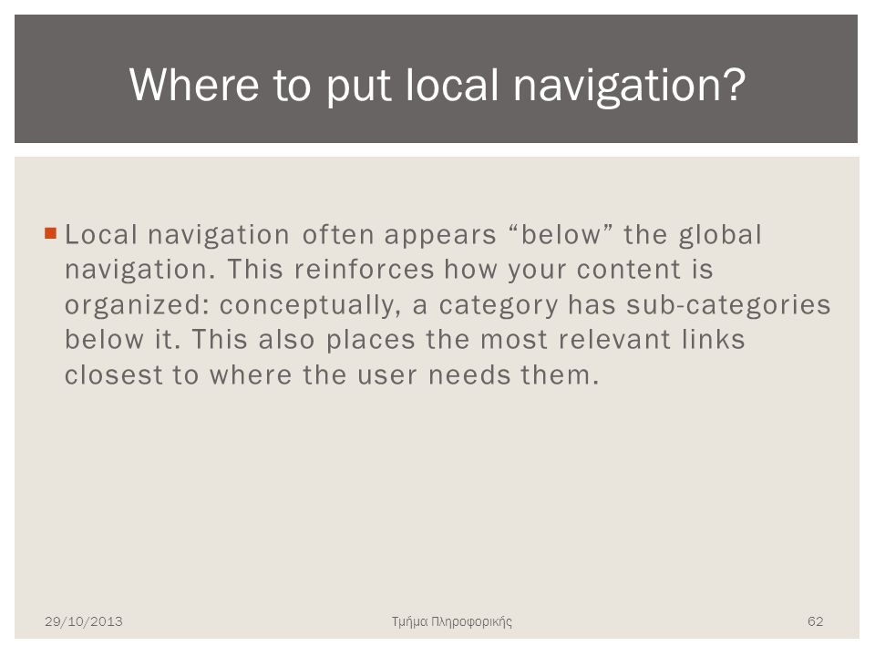 Where to put local navigation