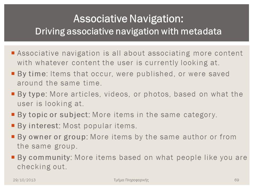 Associative Navigation: Driving associative navigation with metadata