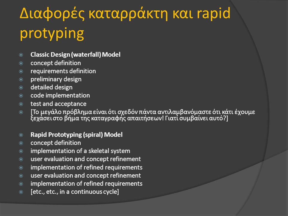 Διαφορές καταρράκτη και rapid protyping