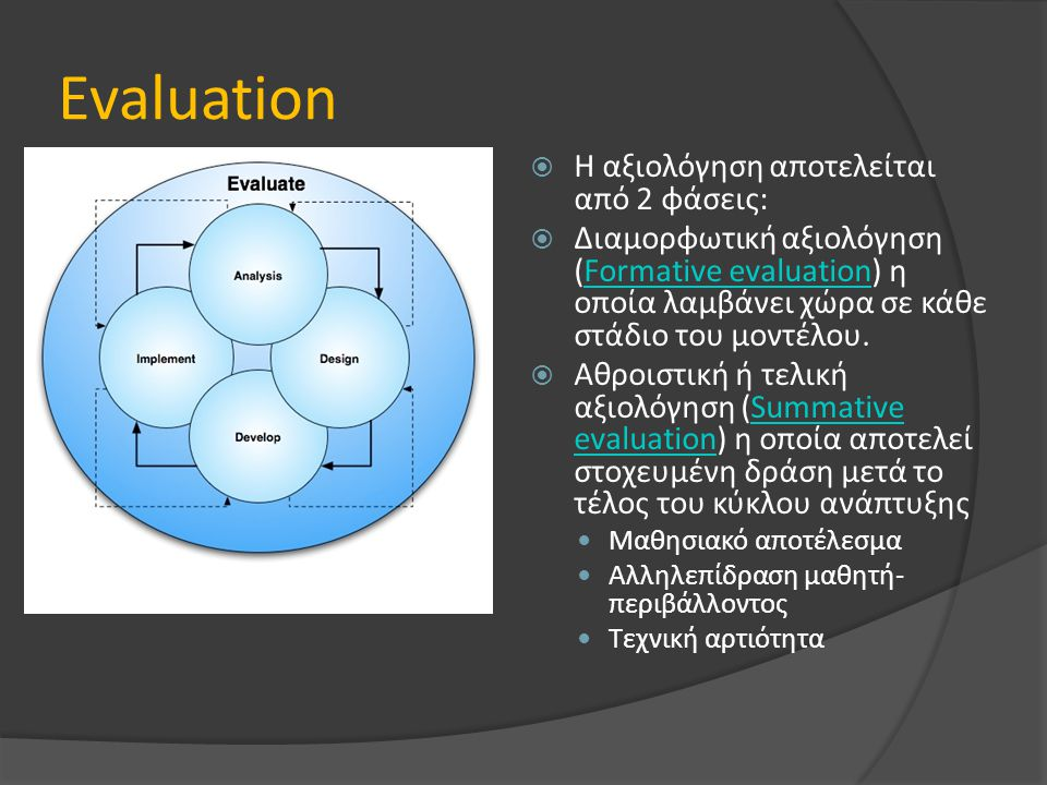 Evaluation Η αξιολόγηση αποτελείται από 2 φάσεις: