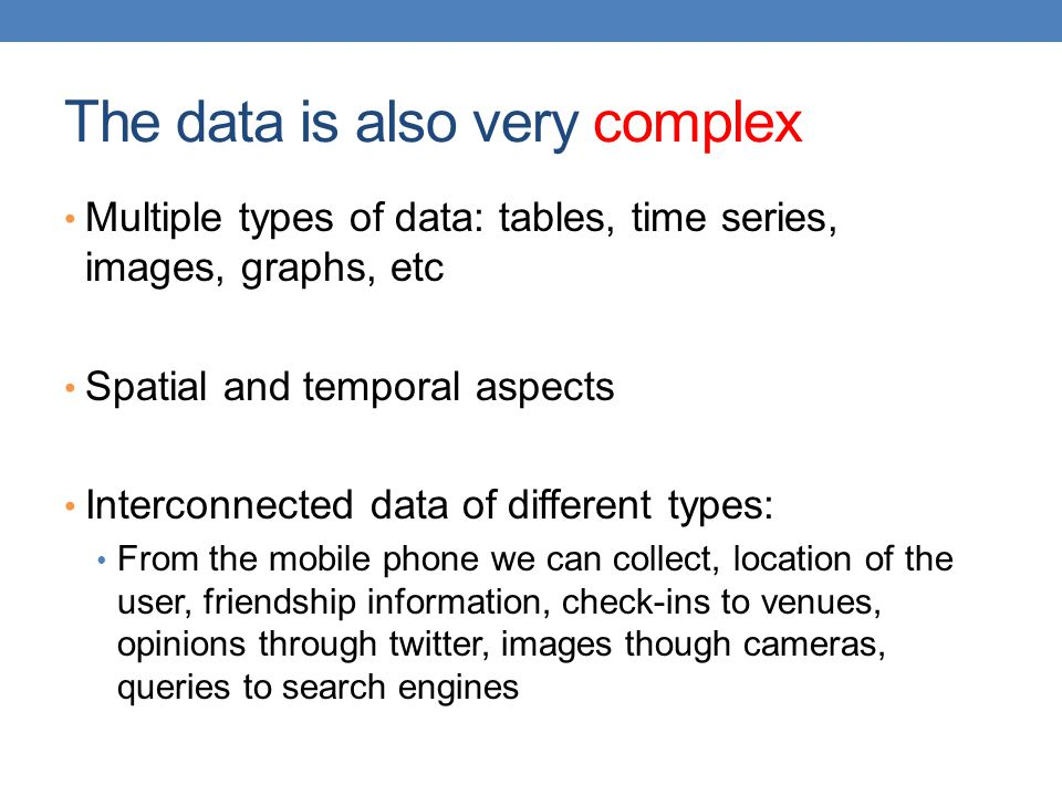 The data is also very complex