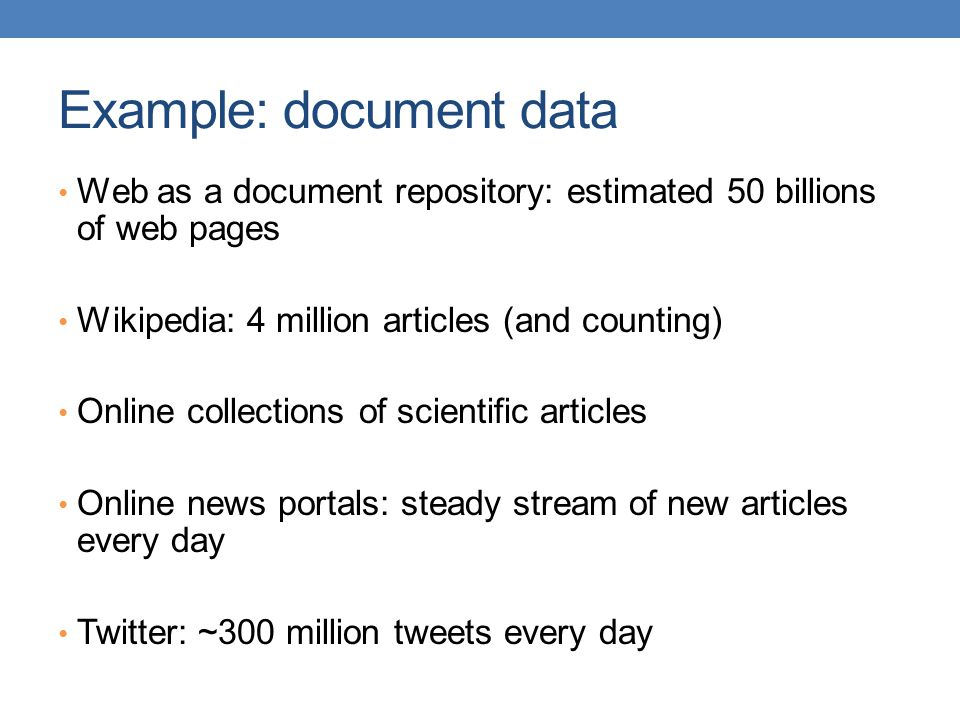 Example: document data
