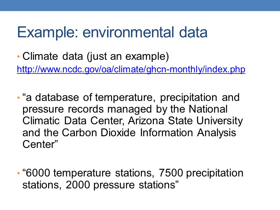 Example: environmental data