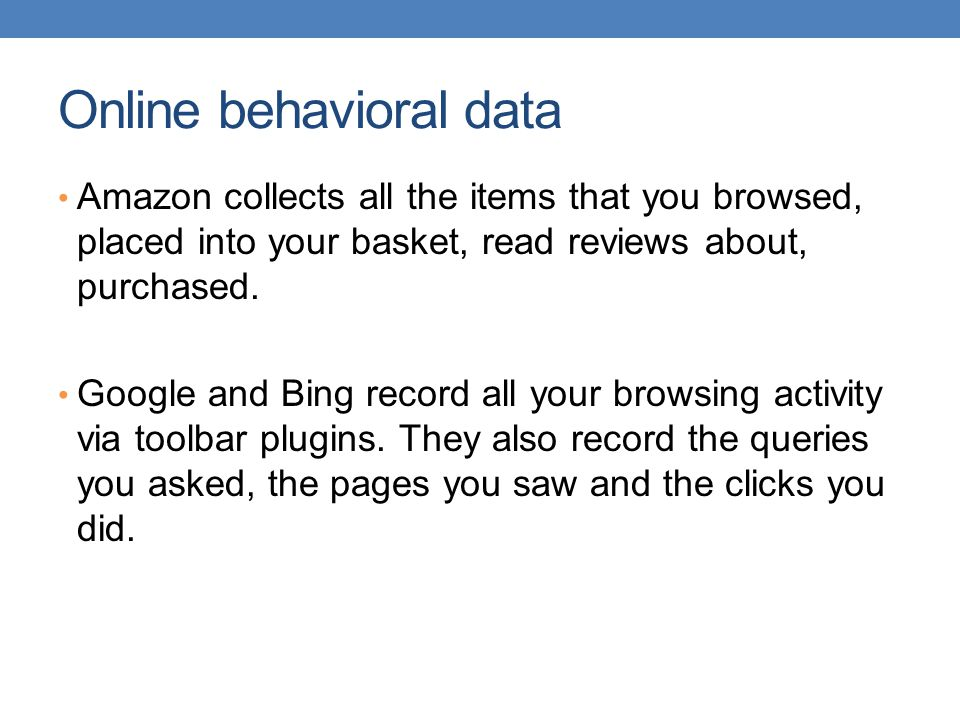 Online behavioral data