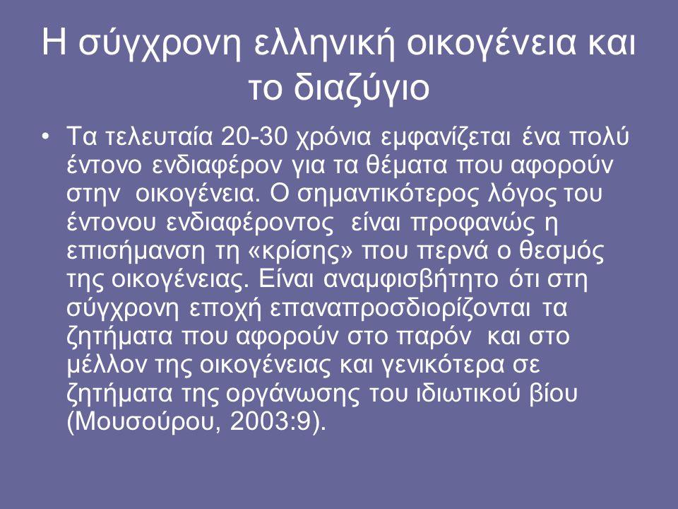 Η σύγχρονη ελληνική οικογένεια και το διαζύγιο