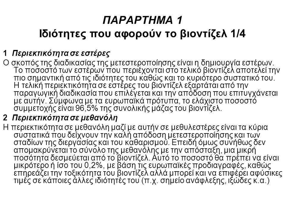 ΠΑΡΑΡΤΗΜΑ 1 Ιδιότητες που αφορούν το βιοντίζελ 1/4