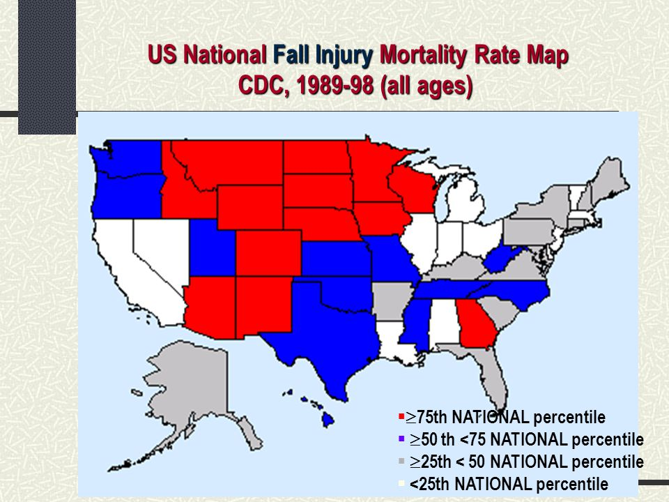 US National Fall Injury Mortality Rate Map