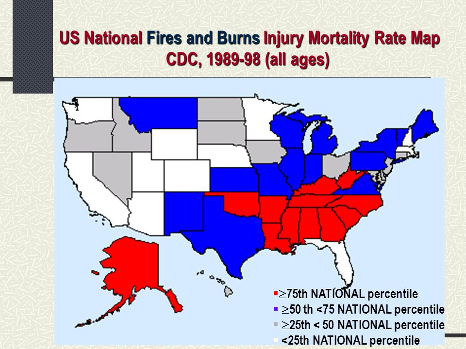 US National Fires and Burns Injury Mortality Rate Map
