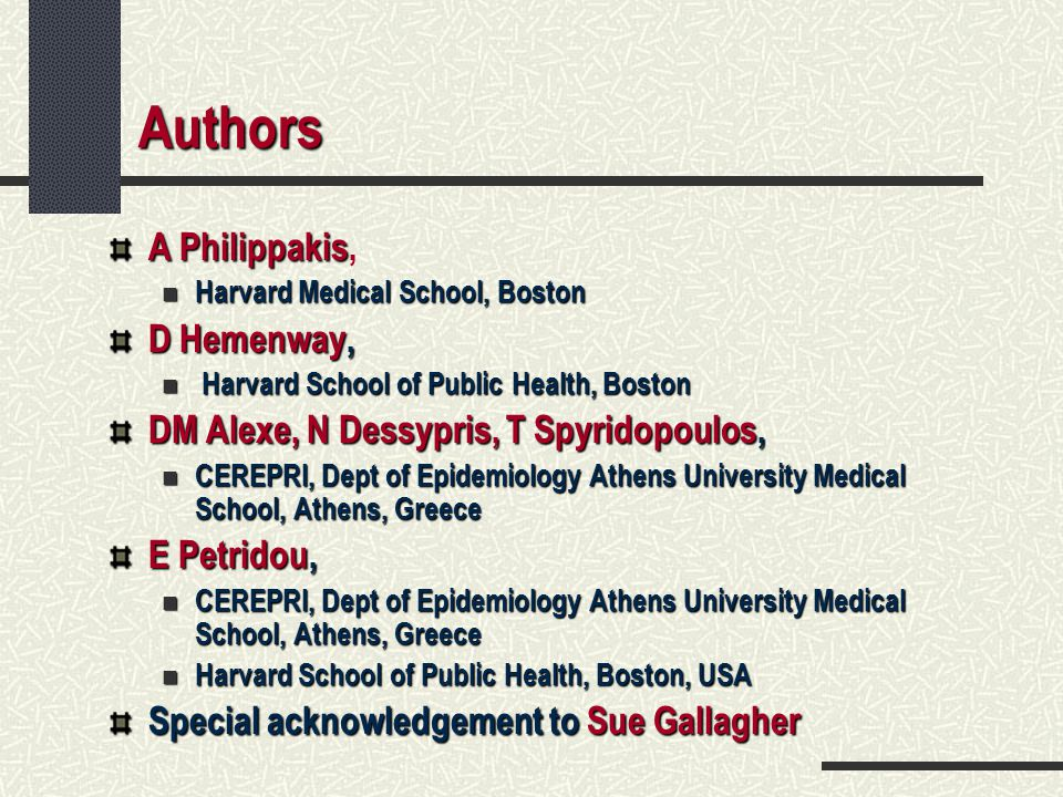 Authors A Philippakis, D Hemenway,