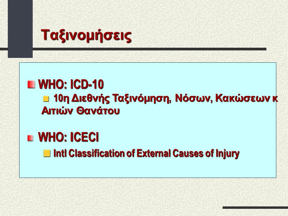 Ταξινομήσεις Intl Classification of External Causes of Injury