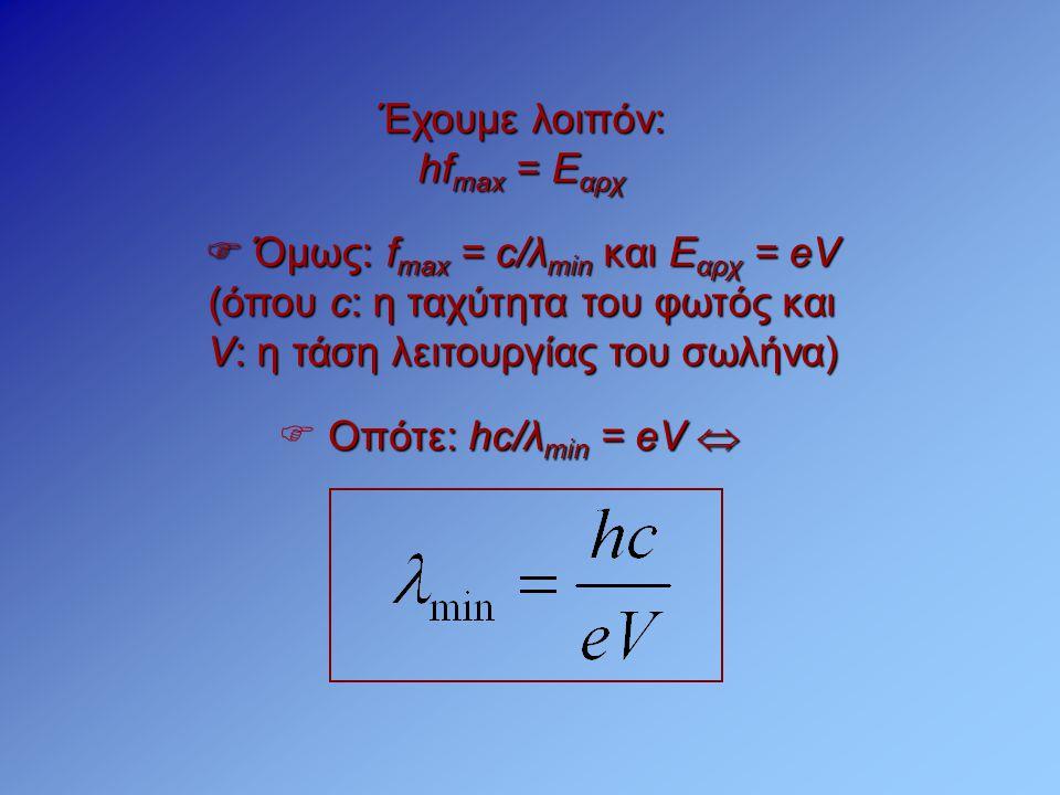  Όμως: fmax = c/λmin και Εαρχ = eV (όπου c: η ταχύτητα του φωτός και