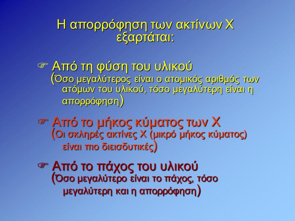 Η απορρόφηση των ακτίνων Χ εξαρτάται: