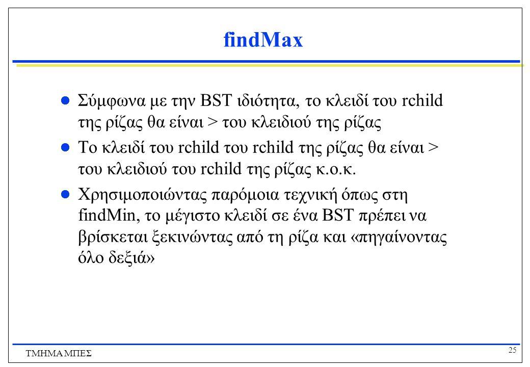 findMax Σύμφωνα με την BST ιδιότητα, το κλειδί του rchild της ρίζας θα είναι > του κλειδιού της ρίζας.