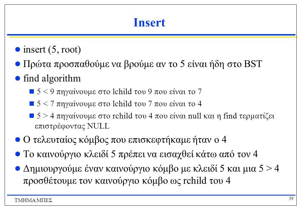 Insert insert (5, root) Πρώτα προσπαθούμε να βρούμε αν το 5 είναι ήδη στο BST. find algorithm. 5 < 9 πηγαίνουμε στο lchild του 9 που είναι το 7.