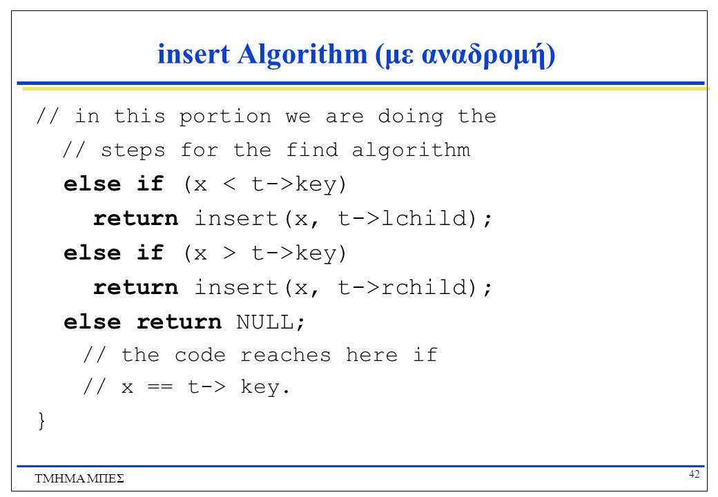 insert Algorithm (με αναδρομή)