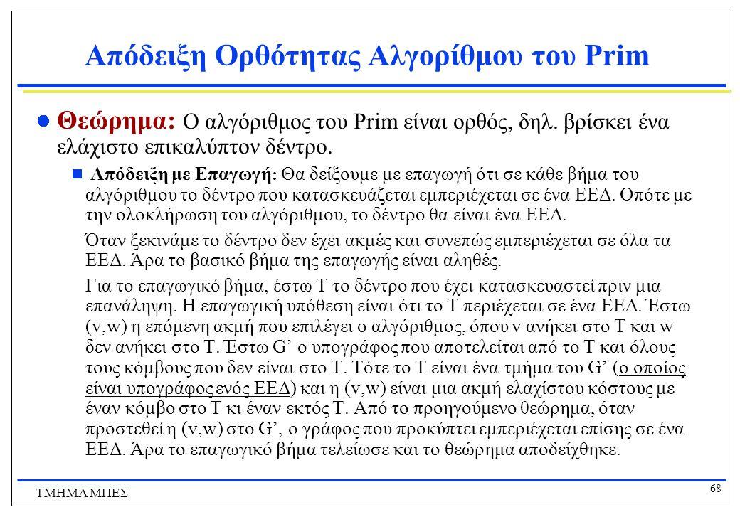 Απόδειξη Ορθότητας Αλγορίθμου του Prim