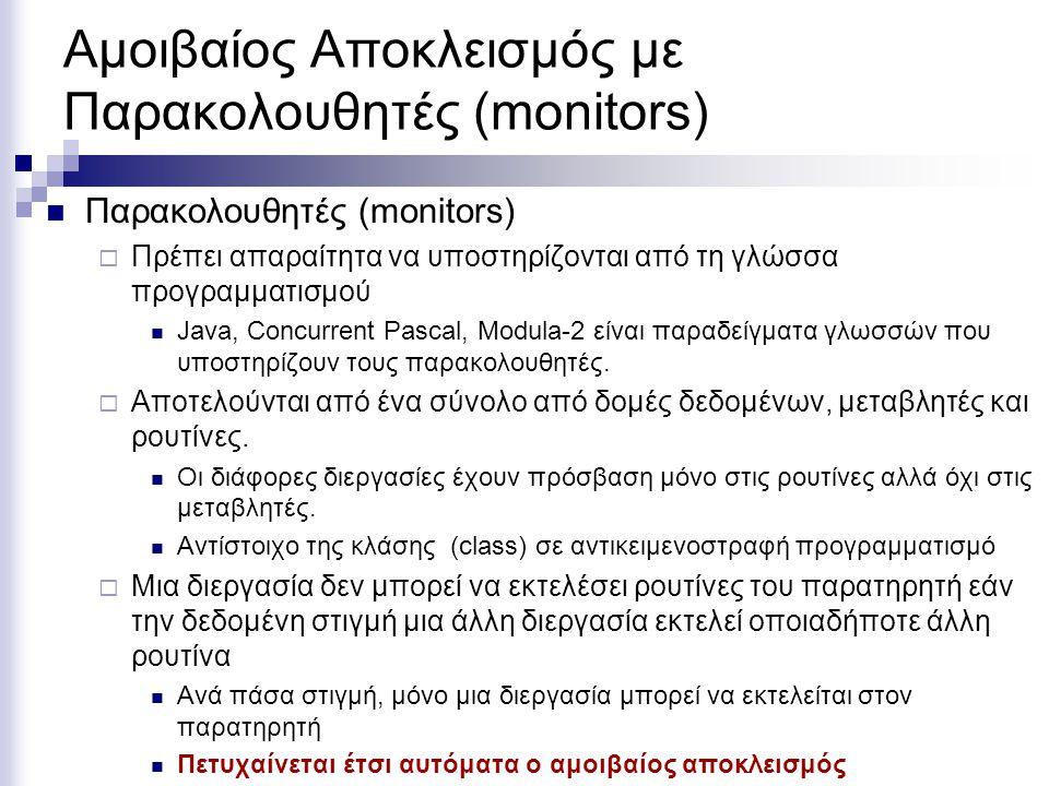Αμοιβαίος Αποκλεισμός με Παρακολουθητές (monitors)