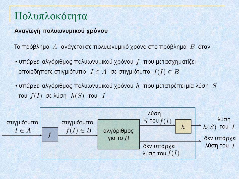 Πολυπλοκότητα Αναγωγή πολυωνυμικού χρόνου