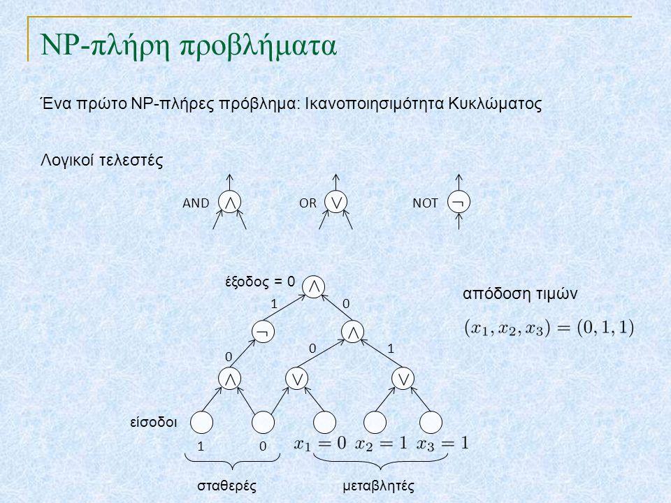 NP-πλήρη προβλήματα Ένα πρώτο NP-πλήρες πρόβλημα: Ικανοποιησιμότητα Κυκλώματος. Λογικοί τελεστές. AND.