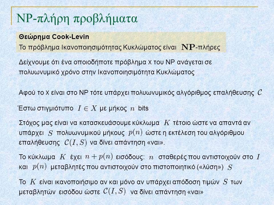 NP-πλήρη προβλήματα Θεώρημα Cook-Levin