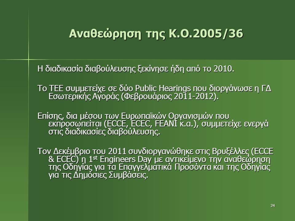 Αναθεώρηση της Κ.Ο.2005/36 Η διαδικασία διαβούλευσης ξεκίνησε ήδη από το 2010.
