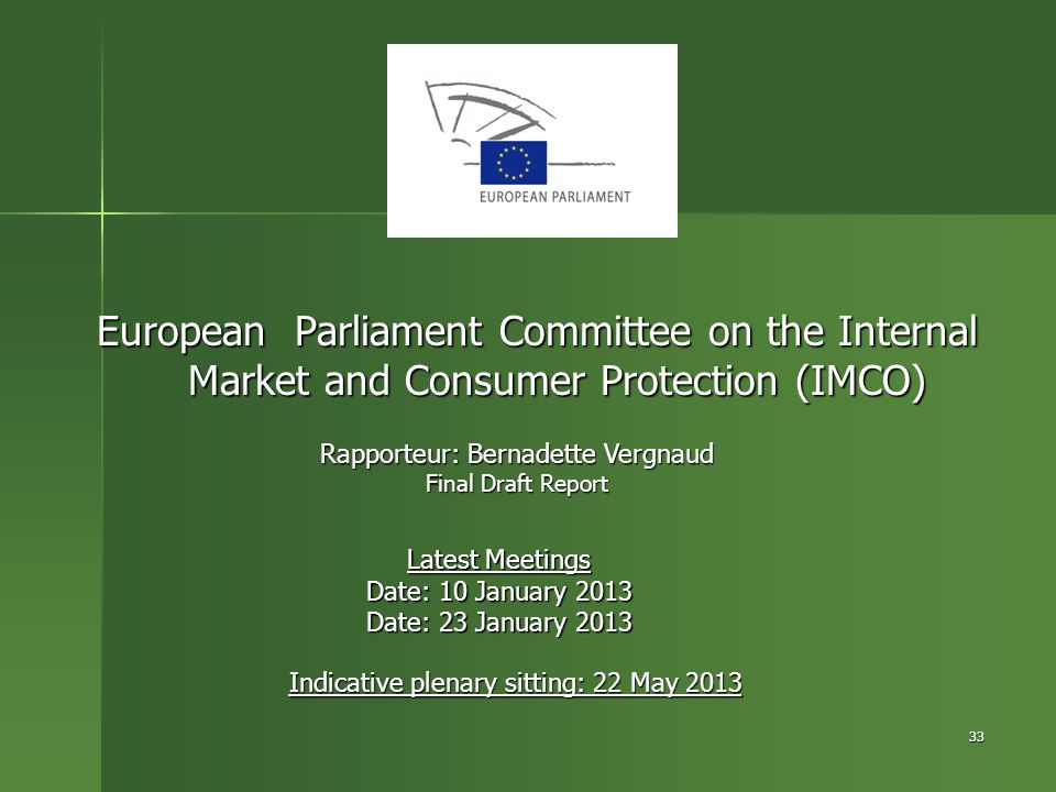 European Parliament Committee on the Internal Market and Consumer Protection (IMCO)