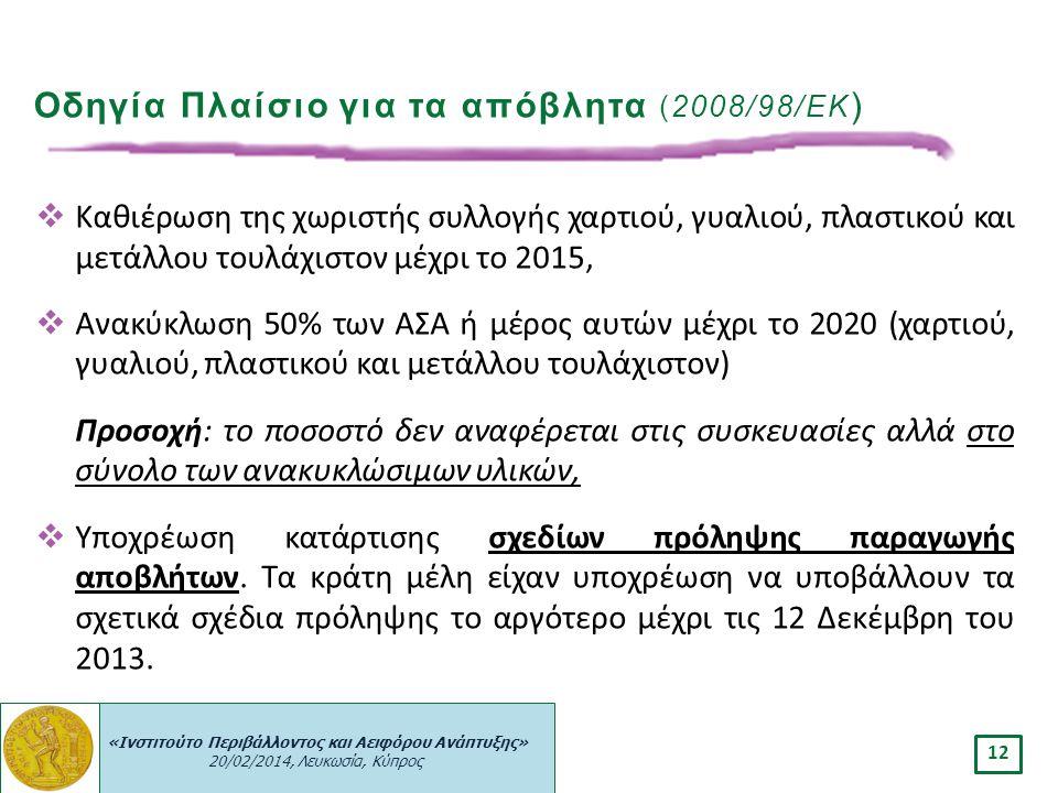 Οδηγία Πλαίσιο για τα απόβλητα (2008/98/ΕΚ)