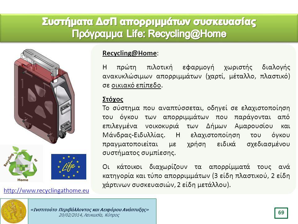 Συστήματα ΔσΠ απορριμμάτων συσκευασίας Πρόγραμμα Life: Recycling@Home