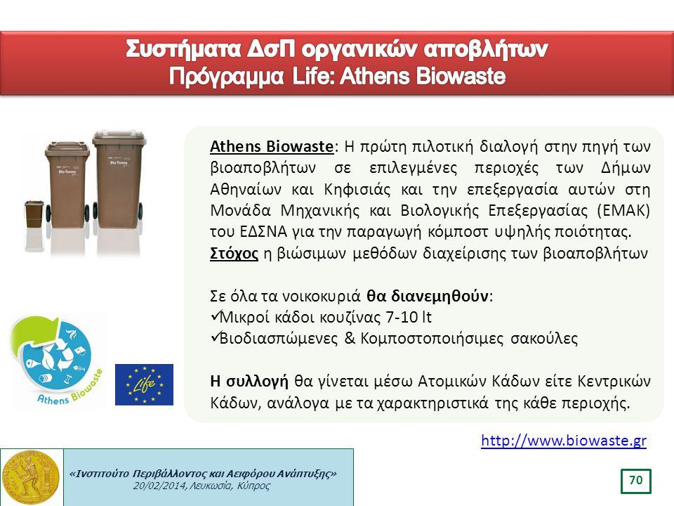 Συστήματα ΔσΠ οργανικών αποβλήτων Πρόγραμμα Life: Athens Biowaste
