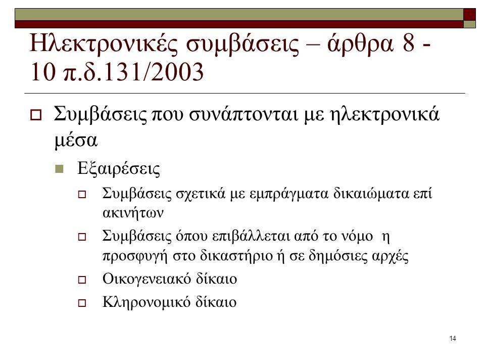 Ηλεκτρονικές συμβάσεις – άρθρα 8 -10 π.δ.131/2003