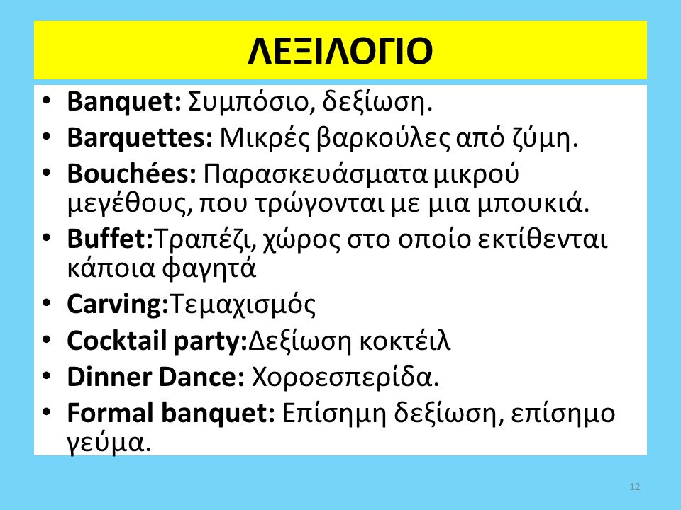 ΛΕΞΙΛΟΓΙΟ Banquet: Συμπόσιο, δεξίωση.