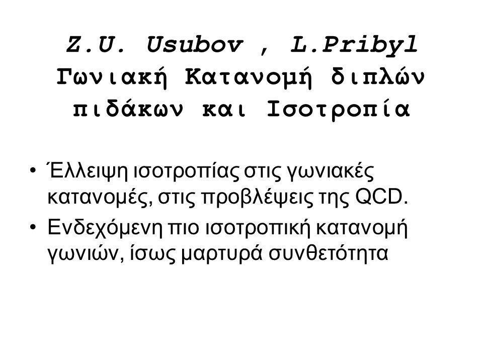 Z.U. Usubov , L.Pribyl Γωνιακή Κατανομή διπλών πιδάκων και Ισοτροπία