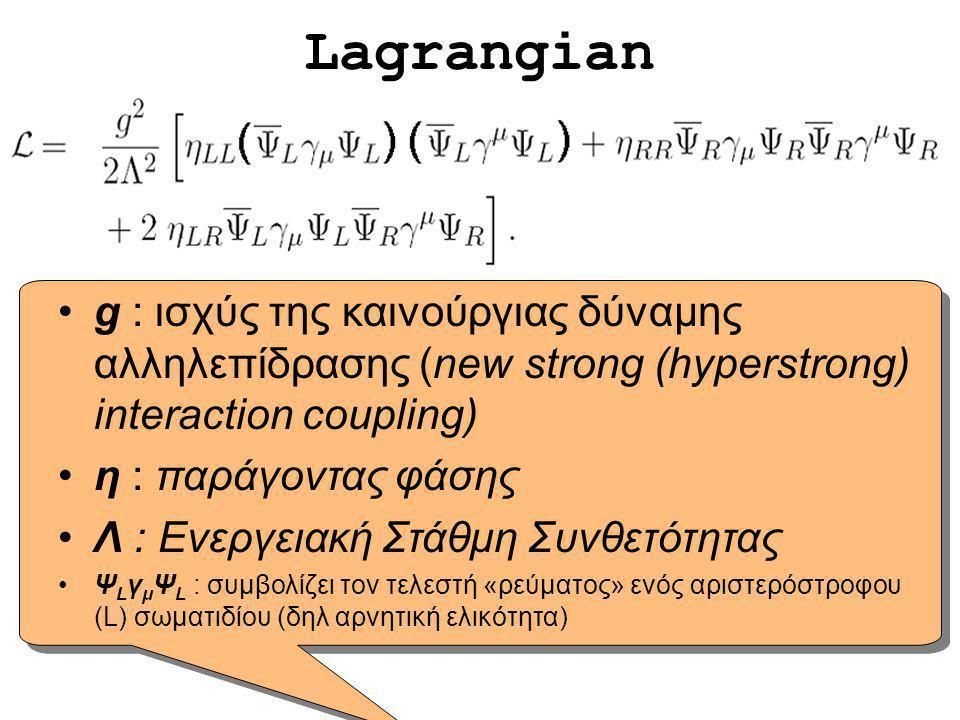 Lagrangian g : ισχύς της καινούργιας δύναμης αλληλεπίδρασης (new strong (hyperstrong) interaction coupling)