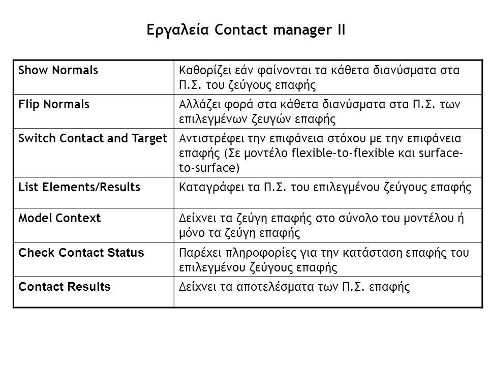 Εργαλεία Contact manager ΙΙ