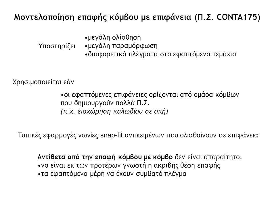 Μοντελοποίηση επαφής κόμβου με επιφάνεια (Π.Σ. CONTA175)