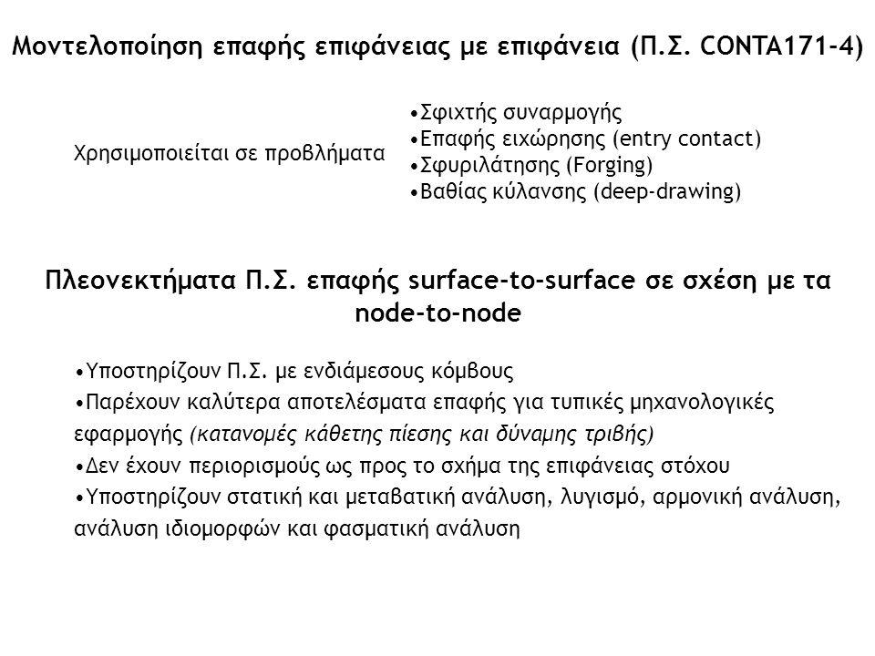 Μοντελοποίηση επαφής επιφάνειας με επιφάνεια (Π.Σ. CONTA171-4)