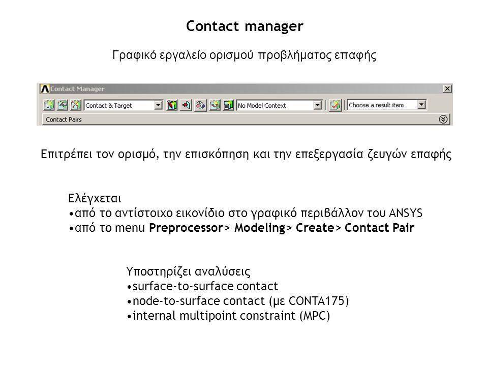 Contact manager Γραφικό εργαλείο ορισμού προβλήματος επαφής